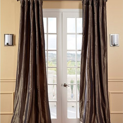 EFF - Solid Faux Silk Taffeta Mushroom Curtain Panel - Add flowing beauty to your home d�cor with this faux silk taffeta curtain panel. Made from a delicate polyester and nylon blend,this beautiful curtain panel features cotton lining with a flannel interlining and an earthy brown tone.