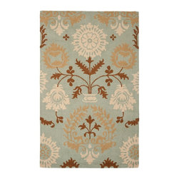 Safavieh - Country & Floral Blossom 8'x10' Rectangle Blue-Multi Area Rug - The Blossom area rug Collection offers an affordable assortment of Country & Floral stylings. Blossom features a blend of natural Blue-Multi color. Hand Hooked of Wool the Blossom Collection is an intriguing compliment to any decor.