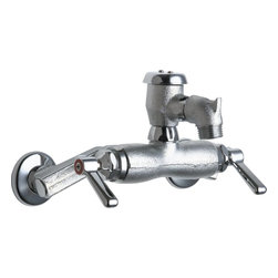 """Chicago Faucets - Chicago Faucets 305-VBRRCF Rough Chrome Manual Wall Mounted Service - Product Features:Manufactured and assembled in the United States of AmericaFaucet body and handles are covered under Chicago Faucet s limited lifetime warrantyConstructed of solid brassHigh quality chrome plated finish - finish covered under warranty for a yearThreaded outlet - 3/4"""" hose threadDouble handle operation - handles rest on 1/4 turn valves seatsQuaturn compression operating cartridge - covered under 5-year warrantyAtmospheric vacuum breaker - not intended for continuous pressure applicationsThreaded inlet connection with integral flangeADA compliantAll hardware required for faucet installation is includedThe Chicago Faucets Benefit:Commercial Grade Faucet: When a product is marked as """"commercial grade"""" it means it has been built specifically to stand the test of time, and has been factory tested to function flawlessly through constant and continuous use. It is expected that faucets used in a commerce fashion will see much more use, and inversely abuse than typical faucets you might see in a residential setting, so they are engineered to do just that. Using simple, yet reliable, designs coupled with the industry s highest quality materials these faucets are some of the most reliable on the market. Although they are marketed as being ideal for commercial settings, the savvy home owner might take the quality found here and add a staple of functionality throughout the home as well.Quaturn Cartridge: The Quaturn cartridge was the industries first replaceable, completely self-contained valve cartridge. The cartridge allows the user to turn the water from full flow to off in just a quarter-turn. This unique cartridge was designed to close with the flow of the water rather than against it which reduces washer ware and virtually eliminates faucet drips. Althoug"""