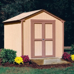 Handy Home Kingston Storage Shed - 8 x 8 ft. - Large enough to make a difference but small enough to not overpower your yard, the Handy Home Kingston Storage Shed - 8 x 8 ft. is a perfect place to store your outdoor supplies or to double as a potting shed during planting season. Inside the gable-styled cedar structure is ample storage on 3 fixed and two adjustable shelves. A fold-down workspace measures 48W x 18D inches and will take pity on your knees and back and let you get a little work done while you're outside, and a wooden-peg hanging system lets you keep a sense of organization in your new storage space. A wide double door with a 48W x 72H-inch opening lets you easily come and go, and the swivel hasp will help you keep everything secure. This shed is available with or without a floor depending n your needs, and the exterior panels are pre-primed and ready for paint. Detailed assembly instructions and all the necessary hardware are included.About Handy HomeSince 1978, Handy Home has been making it easy and affordable for their customers to add storage sheds, gazebos and playhouses to their homes. As North America's largest producer of wooden storage and recreational building kits, Handy Home makes durable structures that require no sawing or drilling and can be delivered when and where their customers need them.