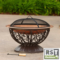 Red Star Traders - RST Outdoor Decorative Copper Fire Bowl with Cover - Fire bowls are a great solution for creating an outdoor fireplace in your backyard without the stress of creating a fire pit.
