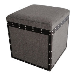 Screen Gems - MANDALAY SQUARE TWEED STORAGE STOOL - Tweed: not just for clothing anymore. This tweed storage stool will bring smart style to your living room. Trimmed in riveted faux leather to give it some edge, it's also multifunctional as you can use this storage cube as an ottoman too.