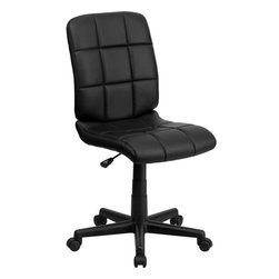 "Flash Furniture - Mid-Back Black Quilted Vinyl Task Chair - This contemporary designed computer chair will highlight a dull or attractive work space. Get away from the ordinary office chair with the attractive quilted, tufted upholstery. Mid-Back Swivel Computer Chair; Black Vinyl Upholstery; Quilted Design Covering; Pneumatic Seat Height Adjustment; Heavy Duty Nylon Base; Dual Wheel Casters; CA117 Fire Retardant Foam; Overall dimensions: 23""W x 24""D x 34"" - 38.75""H"