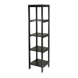 Winsome Trading - Bedford 5-Shelf Espresso Bookcase - This tall bookcase featuring five roomy shelves has a rich espresso finish that will add a handsome accent to any room in the house. Tall and sturdy, this shelf is perfect for books, photos, knick-knacks and more.