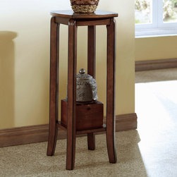 Monarch - Walnut Solid-Top 28in.H Plant Stand - This simple transitional plant stand will not only look great in your vestibule, but can also be an ideal spot to place your keys and purse after a long day at work. With its smooth lines and square legs, this walnut finished piece, constructed in solid hardwoods and veneer, will blend into any decor.