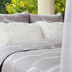 Crane & Canopy - Piper Gray Sham - Euro - A contemporary and striking palette. A playful and preppy pattern. Perfect for any modern bedroom, the Piper's white cascading ribbon pattern contrasts beautifully against a sophisticated light gray palette.