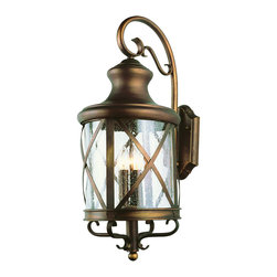 "Trans Globe Lighting - Trans Globe Lighting 5121 AC New England Coast 23"" Outdoor Wall Light - Coastal New England horse and carriage wall lantern. Cross bar frame with rounded seeded glass. Wrought iron wall arm and temple top cap."