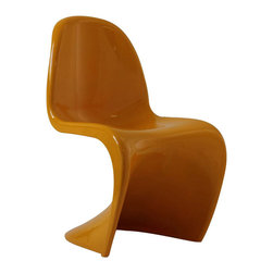 "Modway - Slither Dining Chair in Yellow - Sleek and sturdy, rock back and forth in comfort with this injection molded marvel. Constructed from a single piece of strong ABS plastic, the ""s"" shaped Slither chair can be found in many fashionable settings. From frozen yogurt and ice cream shops, to dining areas in need of a little zest, the design is versatile, fun and lively. Surprisingly cushy, choose from a selection of vibrant colors that won't fade over time. Slither is also perfect for spaces short on room. Includes: One - Slither Chair; Tough ABS Construction; Stackable up to 4 High; Ergonomically Designed; Dimensions: 23""L x 19""W x 33""H; Seat Height: 18""H"