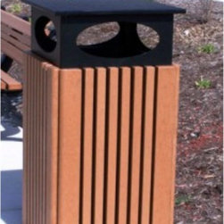 Polly Products - Polly Products 40 Gallon Trash Receptacle with Rain Cap - T40C-CEDAR - Shop for Trash Receptacles from Hayneedle.com! Sturdily constructed from 100% recycled plastics this Polly Products 40 Gallon Trash Receptacle with Rain Cap is a green product for a green world! Built with the strength and resilience to endure any outdoor area this trash receptacle will not be affected by salt inclement weather or insects. Virtually maintenance-free it has an easy-to-clean surface and faux-wood slats for a natural green style. This 40 Gallon Trash Receptacle has a durable plastic liner a convenient easy-load trash bag system and a removable lid to keep your trash out of the rain. Dimensions: 22.562L x 22.562W x 43.75H inches.About Polly ProductsManufactured in a rural Michigan farming community Polly Products' picnic tables and park benches are built with hard work integrity a high standard of excellence and a commitment to environmental sustainability. Polly Products is proud to supply high quality durable products using recycled plastics that protect our precious natural resources. Designed with you in mind Polly Products' tables and benches are sustainable durable and practically maintenance-free.