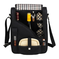 Picnic at Ascot - Two Bottle Wine and Cheese Cooler With Glasses, Black/Plaid - Features: