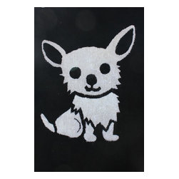 Rug - ~4 ft x 6 ft. Black Kids Bedroom Area Rug with Dog Logo, Soft & hand-tufted - ZOOMANIA KIDS COLLECTION