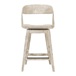 "Stanley Furniture - Archipelago Tambu Counter Stool - Woven materials says Caribbean, and our Tambu Counter Stool proudly expresses just how attractive natural fibers can be. A swivel seat makes it easy to flow with the breezes, and conversations, seaside or barside. Woven seat and back, swivel seat. Seat 17 3/4"" W X 16 5/8"" D Made to order in America."