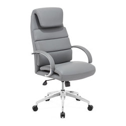 Zuo Modern - Lider Comfort Office Chair Gray - This chair has a leatherette wrapped seat and back cushions with chrome solid steel arms with leatherette pads. There is a height and tilt adjustment with a chrome steel rolling base.