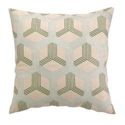 """Peking Handicraft Inc. - D.L. Rhein Boomerang Sky/Green Embroidered Pillow 20"""" x 20"""" - """"DF 20X20"""""""" 100% RAMIE"""""""