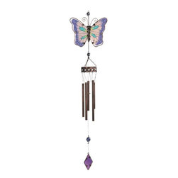 """GSC - 38.5"""" Copper Toned Wind Chime with Purple Winged Butterfly - This gorgeous 38.5"""" Copper Toned Wind Chime with Purple Winged Butterfly has the finest details and highest quality you will find anywhere! 38.5"""" Copper Toned Wind Chime with Purple Winged Butterfly is truly remarkable."""