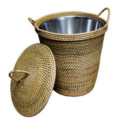 Brilliant Imports - Rattan Basket with Dainty Handles & Top, With Lining - The perfect rattan basket for stashing anything you want to tidy up.  Hand-woven, like all Brilliant Imports' baskets, and, thanks to the rattan handles, it's super easy to move about. Lining makes it an ideal trash bin that is both functional and fabulous! With lining option makes a great trash can.