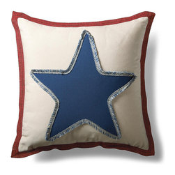 Frontgate - Americana Star Fringed Outdoor Pillow - Handcrafted with premium all-weather materials. 100% solution-dyed acrylic cover in sand, red, and blue. Fringe trim. Zipper enclosure. Polyester fill. A single star says it all on the Americana Star Fringed Pillow. Handmade with premium all-weather materials, including thick fringe, the pillows add comfort and made in America spirit to al fresco furniture.. . . . . Spot clean with mild soap and water; do not dry clean. Made in the USA.