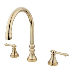 """Kingston Brass - Kingston Brass Polished Brass Tuscany Two Handle Roman Tub Filler KS2342TL - Solid brass construction for durability and reliability, Premium color finish resists tarnishing and corrosion, 13.0 GPM at 60 PSI, 8 1/4"""" spout reach, 12"""" spout height, 11-7/8"""" spout clearance, 3/4""""IPS, 1/4 turn ceramic disc cartridge, 8""""-16"""" widespread installation, Ten year limited warranty.. Manufacturer: Kingston Brass. Model: KS2342TL. UPC: 663370036996. Product Name: Two Handle Roman Tub Filler. Collection / Series: Tuscany. Finish: Polished Brass. Theme: Contemporary / Modern. Material: Brass. Type: Faucet. Features: Drip-free ceramic cartridge"""