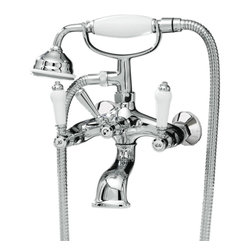 Hudson Reed - Victorian Chrome Tub Filler Faucet & Diverter For Shower Wall Mounted - Enhance your traditional bathroom with the Hudson Reed Victorian wall mounted tub filler faucet, which comes complete with the shower kit. This elegant tub filler faucet has been made from solid brass with a chrome plated finish. Hudson Reed Victorian Tub Filler Faucet Details   Ceramic disc technology. Hand shower Material: brass Finish: Chrome We recommend minimum of 7 psi Dimensions: Width: 7.1, Depth: 5.6
