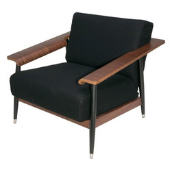 Nuevo - Lars Lounge Chair, American Walnut and Black Wool - Nuevo Living is a premier manufacturer of high quality modern furniture and decor. Nuevo Specializes in wonderful original designs, high quality interpretations of modern classics, designer decorating items, and specialty lighting. Creating a modern home environment is easy with Nuevo Modern Designs.