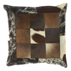 "Surya - Surya PMH-119 18"" x 18"" Poly Fiber Pillow Kit - This pillow brings a western feel to any room with its animal hide design. Colors of espresso, brown, ecru, and black accent this decorative pillow. This pillow contains a poly fill and a zipper closure. Add this 18"" x 18"" pillow to your collection today."