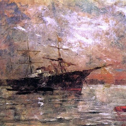 """Frank Duveneck Steamer at Anchor, Twilight, Venice - 16"""" x 24"""" Premium Archival - 16"""" x 24"""" Frank Duveneck Steamer at Anchor, Twilight, Venice premium archival print reproduced to meet museum quality standards. Our museum quality archival prints are produced using high-precision print technology for a more accurate reproduction printed on high quality, heavyweight matte presentation paper with fade-resistant, archival inks. Our progressive business model allows us to offer works of art to you at the best wholesale pricing, significantly less than art gallery prices, affordable to all. This line of artwork is produced with extra white border space (if you choose to have it framed, for your framer to work with to frame properly or utilize a larger mat and/or frame).  We present a comprehensive collection of exceptional art reproductions byFrank Duveneck."""