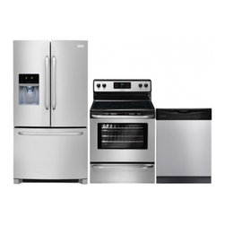 """Frigidaire - FFHB2740PS 36"""" Freestanding French Door Refrigerator 3-Piece Stainless Steel Kit - 267 cu ft capacity and over 100 ways to organize and customize your refrigerator this refrigerator can store anything you wantA large capacity Cool Zone drawer extends completely and provides space to easily store anything from sheet cakes and large ..."""
