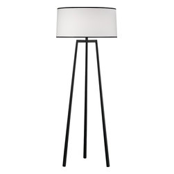 Robert Abbey - Rico Espinet Shinto Floor Lamp - With a subtle, Japanese temple inspiration, this wrought-iron-finished steel floor lamp will add a sense of calm to your home. The round fabric shade perfectly offsets the slightly squared trio of legs, leaving you with a feeling of balance, every time you turn on the light.
