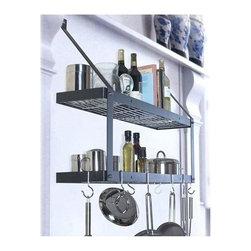 "Rogar - Double Bookshelf W/Grid, Black/Brass - Dimensions: 35""W x 8-1/2""D x 24""H"