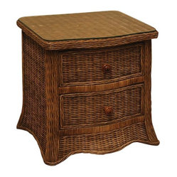 Roma 2-Drawer Wicker Nightstand