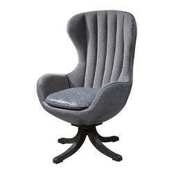 """Uttermost - Uttermost Linford Swivel Chair 23121 - With a nod to the mid-century design classic, this chair gives new attention to transitional details through deep-grained espresso, splayed hardwood swivel base, channel tufted back adding superior comfort, and individually hammered, steel accent nails. Plush, dove gray velvet enveloped by sturdy and supple, clouded zinc polyurethane. Reversible seat cushion. Seat height is 20.5""""."""