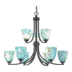 Design Classics Lighting - Modern Chandelier with Blue Glass in Matte Black Finish - 586-07 GL1021MB - Contemporary / modern matte black 9-light chandelier. Takes (9) 100-watt incandescent A19 bulb(s). Bulb(s) sold separately. UL listed. Dry location rated.