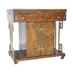 Mastercraft - Consigned Mastercraft Rolling Bar Cart Home Bar - Roll out the bar in style, with this ultra-classy burl and brass vintage cabinet. Greek key accents include elegant door pulls, which open to reveal storage space. This Hollywood Regency-inspired bar is full of sleek surprises, like flip out sides and wheeled casters for the ultimate chic home bar experience.
