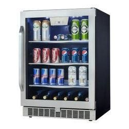 Danby DBC162BLSST Silhouette Select Built-In Beverage Center / Wine Cooler - From soda and beer to bottles of red and white wine the Danby DBC162BLSST Silhouette Select Built-In Beverage Center / Wine Cooler keeps your drinks chilled and ready to enjoy. A generous 5.3-cubic-foot capacity offers room for 126 canned beverages as well as 11 bottles of wine making it ideal for entertaining receptions and other events. An electronic thermostat with LED display offers precision temperature control while your wine has extra protection from harmful UV rays thanks to the Low-E tempered glass door. Additional Features: Stamped stainless steel door frame with matching handle Stainless steel kick plate Temperature range can be set between 39°F - 64°F Sturdy durable tempered glass shelves with stainless steel trim Tempered glass door helps protect contents from harmful UV rays Interior white LED display lighting Reversible door hinge allows for left- or right-hand opening About Danby ProductsDanby is one of the largest household appliance marketing companies in North America with an impressive lineup of compact specialty and home comfort appliances to suit the lifestyles of today's consumer. Danby's reputation as a leader in the appliance market has been achieved by researching what consumers want and providing quality innovative products at competitive prices to fit their lifestyles.