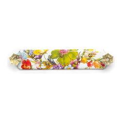 Flower Market Key Park - White | MacKenzie-Childs - Never lose your keys again! Hand decorated enameled steel with antique-brass-finished hooks.