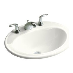 "KOHLER - KOHLER K-2196-8-0 Pennington Self-Rimming Drop-In Bathroom Sink - KOHLER K-2196-8-0 Pennington Self-Rimming Drop-In Bathroom Sink with 8"" Widespread Faucet Holes in White"
