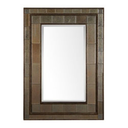 Z Gallerie - Tilden Mirror - With layered details, our Tilden Mirror brings graceful lines and reflective surfaces to your walls.  Decoratively detailed, our Tilden Mirror has been constructed with stair stepped antiqued mirrors with beveled edges and a distressed rust bronze finish for added appeal.  Completing the look, the large rectangular center mirror is complete with a generous bevel.  For ease of use, our Tilden Mirror comes equipped with D rings for vertical hanging.