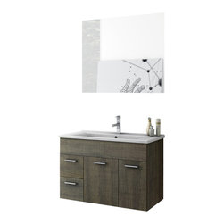 ACF - 33 Inch Grey Oak Bathroom Vanity Set - This Italian-made bathroom vanity set features a waterproof panel made of engineered wood in a beautiful grey oak finish.