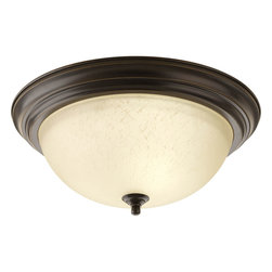 Progress Lighting - Progress Lighting P3926-20Eul Three-Light Close-To-Ceiling Etched Umber Linen Gl - Three-light flush mount with dome shaped glass, solid trim and decorative knobs.