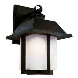 "Trans Globe Lighting - Pagoda Cap 14"" Wall Light - Black - East meets West with this garden landscape and entry collection. Add all matching accent lighting for the whole home. Pair with ledge stone sided porch areas and homes for stunning ambience.; Weather resistant cast aluminum; Lantern ring is welded to wall bracket to prevent breakage from wind; Open at bottom for directional light over porch areas; Asian inspired complete landscape lantern collection; Materials: Cast Aluminum; Bulb Type: Medium - E-26 - E-27 - Type A; Bulb Wattage: 100; No. of lights: 1; Bulbs Included:No; Glass: White Frosted Glass, Rectangle; Dimensions:9.5""W x 13.5""H x 10.5""D"