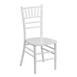 "Flash Furniture - Flash Elegance Supreme White Wood Chiavari Chair - If you've been to a wedding, chances are you've sat in a Chiavari chair. Chiavari Chairs have become a classic in the event industry and are also highly popular in high profile entertainment events. This chair is used in all types of elegant events due to its lightweight, stacking capabilities and elegant design. Keep your guests comfortable with optional cushions and keep your chairs beautiful with optional chair covers.; 1100 lb. Static Load Weight Capacity; Wood Chiavari Chair in White Finish; High Quality Hardwood Frame; Reinforced Stress Points provide Greater Stability, Safety and Durability; Reinforced Stress Points provide Greater Stability, Safety and Durability; Durability ensured with Steel Flat Socket Cap Screw and Lockout; Special 45° Joints Installed on bottom of front seat section for Extra Stability; Stacks up to 10 High; Constructed for Indoor and Outdoor Events; 2 Year Limited Warranty on Frame; 1 Year Limited Warranty on Seat Cushion; Ships Fully Assembled; Weight: 10 lbs; Overall Dimensions: 16.25""W x 17""D x 36.25""H"
