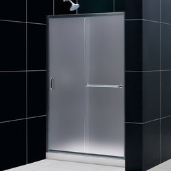 """DreamLine - DreamLine DL-6107C-01FR Infinity-Z Shower Door, Base & Backwalls - DreamLine Infinity-Z Frameless Sliding Shower Door, 36"""" by 48"""" Single Threshold Shower Base and QWALL-5 Shower Backwall Kit"""