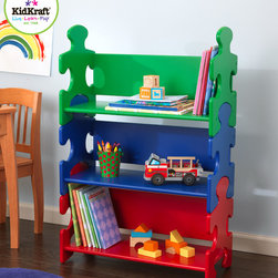 Kids Kraft - Kids Kraft Primary Puzzle Book Shelf - This is kids kraft primary puzzle book shelf from vista stores. This is very popular Puzzle Bookshelf which is perfect to help young children to stay organized with their toys, school notebooks and other materials. This puzzle bookshelf available in a bright colors and in creative design. This puzzle book shelf would look perfect in any boy or girl's room. This book shelf comes with three deep shelves in which your child can keep their books, games, toys and more. The shelf sides of shelves looks like puzzle pieces.