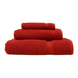 Linum Home Textiles - Linum Home Textiles Terra Cotta Herringbone Weave 3-Piece Towel Set - HN-HB75-3C - Shop for Towels from Hayneedle.com! Outfit your half- or guest-bathroom with a full-set of soft handsome towels. The Linum Home Textiles Terra Cotta Herringbone Weave 3-Piece Towel Set includes a full-sized bath towel a hand towel and a washcloth each with a matching design. Durable plush 100% Turkish cotton is used to create each piece Jacquard-woven with a herringbone pattern on the surface. A dobby-weave design augments the border bands of each towel while a stunning terra cotta red makes them a natural fit for Southwestern themes or bright color schemes. The towel are all machine-washable. Washcloth dimensions: 13L x 13W inches; Hand towel dimensions: 16L x 30W inches; Bath towel dimensions: 27L x 54W inches.About Linum Home Textiles Established with the intent to produce and sell Turkish home textile products and traditional items such as Pestemal (waistcloth) bath robes and scrub mittens Linum Home Textiles is an international company headquartered in Istanbul Turkey and the U.S. Linum Home Textiles' mission is to provide customers with premium products exceptional quality and beauty.