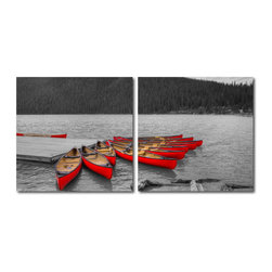 """Wholesale Interiors - Crimson Canoes Mounted Photography Print Diptych - Vividly red and surrounded by acres upon acres of coniferous forest, this collection of canoes beckons with the promise of an adventure-filled afternoon. This powerful image is printed on waterproof vinyl canvas applied to hollow MDF frames: a diptych meant to be displayed one adjacent to the other. A two-piece modern wall art set, the Crimson Canoes photo is made and assembled in China, is ready to hang, but does not include mounting hardware. Maintain the image's beauty by wiping each frame clean with a dry cloth as necessary. Product dimension: 19.68""""W x 1""""D x 19.68""""H."""