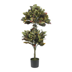 """Nearly Natural - 4.5' Croton Topiary Silk Tree - Positively """"Jurassic"""" in look, this Croton Topiary tree is definitely one of our most interesting offerings. Featuring large leaves in a multitude of greens, yellows and crimsons, this striking specimen will have you thinking you've traveled back in time. Or, at the least, traveled to a place where exotics like this are an everyday occurrence. Standing 4 and a half feet tall and sporting 216 leaves, this silk tree looks great in any home or office setting. # of Leaves: 216 Lvs; Pot Size: W: 8 in, H: 7 in. Height: 4.5 ft; Width: 20 in; Depth: 20 in."""