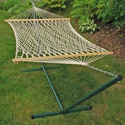 Algoma 11' Imported Cotton Rope Stand Combo Hammock - This Algoma 11' Imported Cotton Rope Stand Combo Hammock pairs a 2-point cotton rope hammock with a powder-coated green stand to bring you hours of enjoyment. Strong, comfortable and convenient for your outdoor pleasure. This stand will endure the elements of the great outdoors while providing a safe way to hang loose during the summer months.
