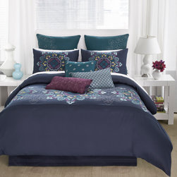 None - Modern Living Bianca 4-piece Comforter Set and Optional Euro Sham Separates - The Bianca graphic embroidery is bright,bold and spirited. This charming set features an engineered Suzanni design embroidered horizontally with pleating detail.