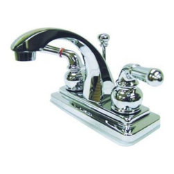 "Kingston Brass - Two Handle 4"" Centerset Lavatory Faucet with Brass Pop-up KS4641NML - This bathroom faucet features a whimsical feel with its sweeping spout and graceful lever handles. This faucet has a deck mount setup and features a 4"" centerset installation. The body is fabricated from solid brass for durability and long-lasting use. The color finish is made of polished chrome for that reflective shine, as well as resisting scratches, corrosion and tarnishing. The spout has a reach of 4"" and a height of 5"". The handles allow for easy management of water volume and temperature. The faucet operates with a ceramic cartridge valve for droplet-free functionality with the water measured 2.2 GPM (8.3 LPM) and a 60 PSI maximum rate.  An integrated removable aerator is inserted beneath the spout's head piece for conserving water flow.  A brass pop-up drain in a matching finish is included. All mounting hardware is included and standard US plumbing connections are used. A 10-year limited warranty is provided to the original consumer.. Manufacturer: Kingston Brass. Model: KS4641NML. UPC: 663370033650. Product Name: Kingston Brass Naples Two Handle 4"" Centerset Lavatory Faucet with Brass Pop-up. Collection / Series: Naples. Finish: Polished Chrome. Theme: Contemporary / Modern. Material: Brass. Type: Faucet. Features: Drip-free ceramic cartridge system"
