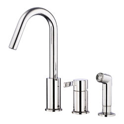 "Danze - Danze D409030 Kitchen Faucet With Spray Chrome - Danze D409030 Chrome Single Handle Kitchen Faucet with Spray is part of the Amalfi Kitchen collection.  D409030 Kitchen Faucet with matching brass spray 3 hole installation, has an 5 1/2"" long and 12 1/4"" high spout.  D409030 Single lever handle meets all requirements of ADA.  California and Vermont compliant."